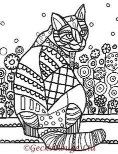 Cross Stitch Pattern, 'Color In Cross Stitch', Cat Cross Stitch, Heather Galler, PDF Pattern, Chart, Counted Cross Stitch, Emailed PDF, Cat