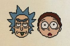 Rick and Morty Handmade Finished Cross Stitch by HappyHaikuCrafts