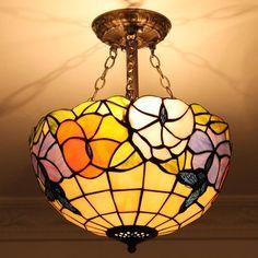 Wildflower Dreams Tiffany Flush Mount Lamp