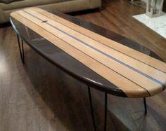 x Surfboard Coffee Table Wooden Surfboard Table Surf Furniture Table Surf, Surfboard Coffee Table, Wooden Surfboard, Surfboard Art, Galveston, Coffee Table Stand, Coffee Tables, Furniture Grade Plywood, Wood Furniture