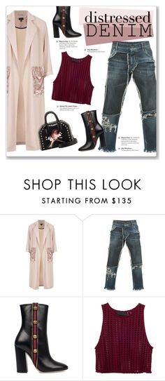 """Distressed Denim"" by kellylynne68 ❤ liked on Polyvore featuring Topshop, Dolce&Gabbana, Gucci, STELLA McCARTNEY, denim, booties, velvet, distressed and distresseddenim"