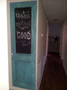 Hanging door : ) chalk paint doing this for Monica's room.