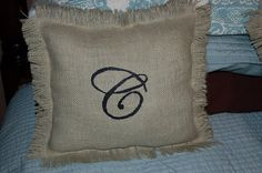 DIYP-Custom Monogramed Burlap Pillows — We are THAT Family