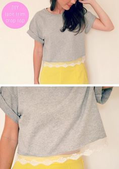 b2bf8b7d9eb DIY Lace Trimmed Crop Top Tee Shirt Tutorial from Burkatron... Diy Lace Trim