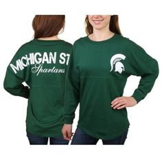 Michigan State Spartans Women's Pom Pom Jersey Oversized Long Sleeve T-Shirt - Hunter Green