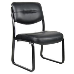 Black Leather Guest Chair Visitors Chair Desk Side Chair Waiting Room Chair New #Boss #GuestChair #Chair #Furniture #Black #Guest