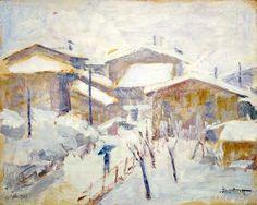 1963.05.04 Lanfranco Scorticati, Case sotto la neve