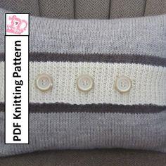 "PDF KNITTING PATTERN  Button Stripe 12""x16"" pillow cover by LadyshipDesigns, $4.95"