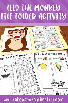 Feed The Monkey File Folder Activities: work on vocabulary, sentence structure, following directions, answering questions and more. Tons of sentence strips, visuals, and repetition. Perfect for speech therapy