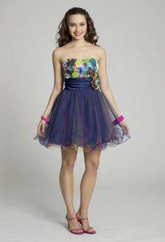 Short Dresses - Strapless Rosette A-Line Prom Dress from Camille La Vie and Group USA