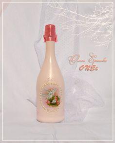 Wedding decor. Оформление аксессуаров для свадьбы. Бутылка шампанского Асти Мартини. Винтажные голуби. http://www.livemaster.r/oner