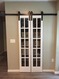 Wanted to change the pantry to a sliding door but one large door wasn't an option. Cute and super easy way to change out the door. Kitchen Sliding Doors, Kitchen Pantry Doors, Sliding Door Design, Diy Kitchen Decor, Kitchen Redo, Kitchen Remodel, Kitchen Ideas, Pantry Design, Kitchen Design