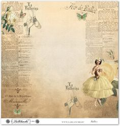 The ballerina - gorgeous paper with yellow gowned ballerina, yellow roses and French writing.