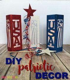 Lanterns and stars DIY Patriotic Decorations with free SVG files. Patriotic Crafts, Patriotic Decorations, Summer Crafts, Holiday Crafts, Star Diy, Project Free, Memorial Day, Decorative Boxes, Crafty
