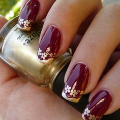 nails.quenalbertini: Burgundy & Gold