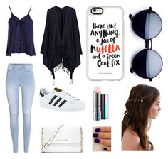 """Black, Blue, and White"" by heeeeey-itz-sarah ❤ liked on Polyvore featuring Sans Souci, H&M, adidas, Joseph, MICHAEL Michael Kors, Casetify, REGALROSE, MAC Cosmetics, white and Blue"
