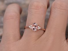 Oval Morganite Engagement Ring with CZ. Morganite Engagement, Morganite Ring, Silver Roses, Rose Gold, Alternative Engagement Rings, Gold Bands, White Gold Rings, Or Rose, 925 Silver