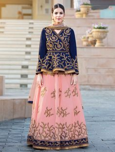 Buy glamorous lehenga online from our extensive collection of designer lehenga choli. Buy this classy embroidered, lace and resham work long choli lehenga. Long Choli Lehenga, Ghagra Choli, Bridal Lehenga Choli, Lehenga Blouse, Saree Dress, Navy Blue Lehenga, Pink Lehenga, Patiala Salwar, Anarkali