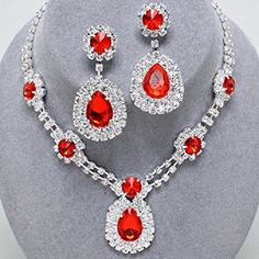 """Silvertone Rhinestone Necklace and Earring Set with Red Siam Stone Detail. Necklace Size : 15"""" + 4"""" L, 1 3/4"""" L. Earring Size : 2 1/4"""" L. WT001 http://www.amazon.com/dp/B00DUGUKKQ/ref=cm_sw_r_pi_dp_svcdxb0ZKMDQQ"""