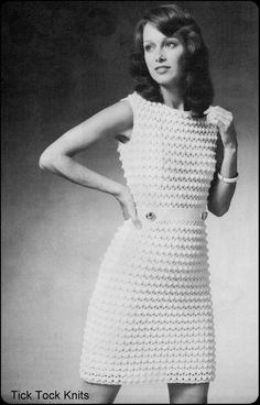 Vintage PDF crochet pattern to make a womans puff stitch dress with a built in belt at waist with buttons and button loops. Circa 1960s. Worked in fingering weight yarn on a size E hook at a gauge of 6 sc = 1 inch.  Includes instructions for three sizes, for the following finished garment bust
