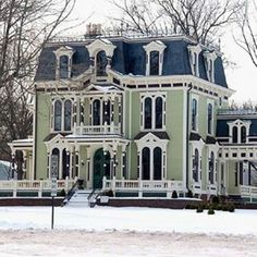 Built in 1873 by Silas Robbins, the House is a sophisticated and elegant representation of the Second Empire design. Victorian Architecture, Architecture Old, Beautiful Buildings, Beautiful Homes, Old Victorian Homes, Victorian Houses, Victorian Decor, Victorian Era, Empire House