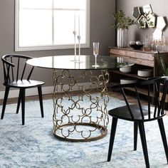 Quatrefoil Brush Gold Dining Table | Overstock.com Shopping - The Best Deals on Dining Tables