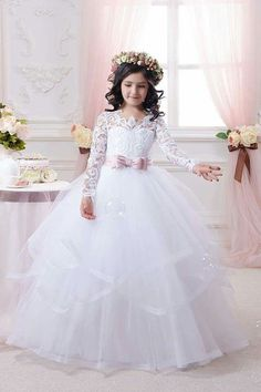 2016 Hot White Flower Girl Dresses Long Lace Sleeve Girls Pageant Dresses First Communion Dresses for Little Girls Ball Gown