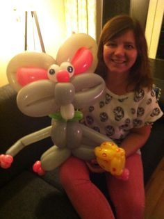 Me and my balloon mouse. My biggest balloon animal ever!