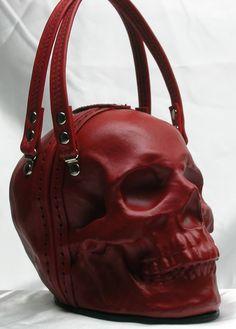 Cráneo de cuero embrague en rojo