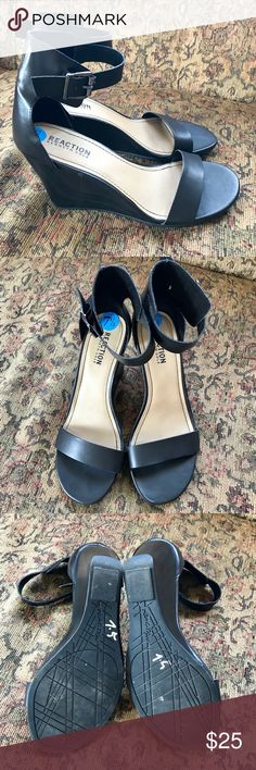 Reaction Kenneth Kole Black Wedge Strappy Sandals Very good condition as seen on photos except flaw shown on last pic. True to size and very comfortable. Kenneth Cole Reaction Shoes Sandals