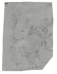 GIOVANNI BATTISTA TIEPOLO STUDIES OF TWO FLYING PUTTI, WITH A STUDY OF A PUTTO'S RIGHT LEG ABOVE