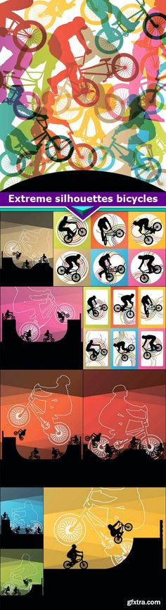 Extreme silhouettes bicycles 10x EPS