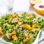 Grilled Peach, Avocado and Chicken Kale Quinoa Salad
