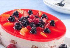 12958309 - fruit yogurt cake cream and yogurt based fruit filling topped with jelly raspberries, blackberries, stawberries, and oranges Fruit Yogurt, Yogurt Cake, Fruit Salad, Ricotta, Jelly, Panna Cotta, Cake Recipes, Raspberry, Cheesecake