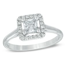 1/2 CT. T.W. Princess-Cut Diamond Square Frame Engagement Ring in 14K White Gold - Clearance -