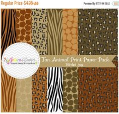 80% OFF- INSTANT DOWNLOAD  Natural animal print digital paper zebra paper pack leopard background classic leopard papers for commercial JessicaSawyerDesign 0.99 USD