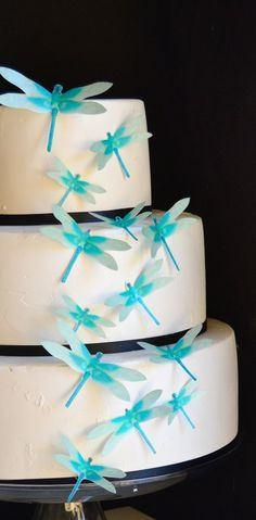 Wedding Cake Topper Edible Dragonflies Turquoise by SugarRobot