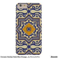 Ceramic Azulejo Style Blue Orange Phone Case Barely There iPhone 6 Plus Case