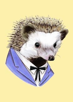 This gem can be found on Etsy at berkleyillustration...he's too sweet for words!  Hedgehog art print 5x7 by berkleyillustration on Etsy, $10.00