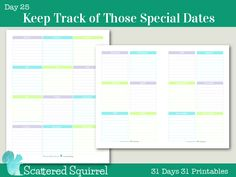 Day 25- Keep Track of Those Special Dates with one of these printables. Two sizes to choose from so you can find the one that will fit your planner the best.