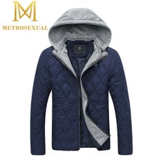 58.69$  Buy now - http://ali064.worldwells.pw/go.php?t=32373761021 - Winter Parka Men 2015 New Arrival Blue Slim Fit Hooded Cotton Padded Jacket Quality Quilted Jackets Jaquetas Masculinas Inverno 58.69$