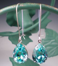 Rhinestone Earrings Light Turquoise Swarovski Sterling Silver Dangle Earrings Aqua Teal Wedding Jewelry Bridesmaid JewelryBridesmaid Jewelry. $26.00, via Etsy.