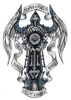 Memento Mori by Darksilvania on DeviantArt Sun Tattoos, Time Tattoos, Tatoos, Momento Mori Tattoo, Aliens, Memento Vivere, Candle Tattoo, Knight Tattoo, Sun Tattoo Designs