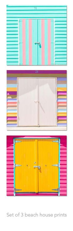 Beach houses with pretty coloured doors! Beach photography beach house set colourful by mylittlepixels ***Color! Coastal Homes, Coastal Living, Beach Photography, House Photography, Food Photography, Dream Beach Houses, Studio Furniture, Kids Furniture, Deco Boheme