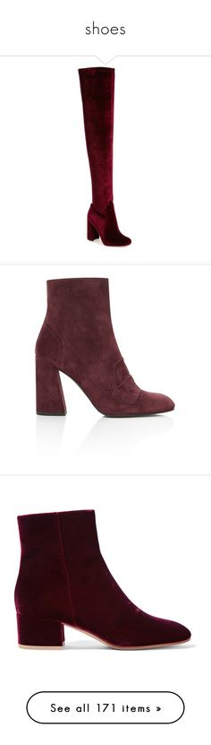 """shoes"" by harthkai on Polyvore featuring shoes, boots, wine velvet, wine boots, lightweight boots, stretchy boots, thigh high velvet boots, stretch thigh high boots, ankle booties and burgundy ankle boots"