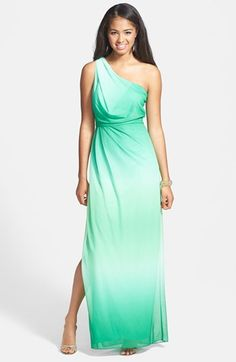 Hailey by Adrianna Papell One-Shoulder Ombré Blouson Jersey Gown available at #Nordstrom