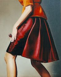 "Fashionality: Dress and Identity in Contemporary Canadian Art,        Barbara Pratt, ""When I leave I'll wear my red skirt."" Oil on canvas, 2007.    www.mcmichael.com"