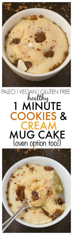 Healthy 1 Minute Cookies and Cream Mug Cake made with NO butter, NO oil. NO grains and NO sugar, yet incredible- Oven option too! vegan, gluten free, paleo recipe- thebigmansworld.com