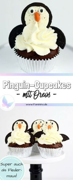Most current Totally Free Chocolate penguin oreo cupcakes Style These cute Oreo cupcakes come in two different shapes: depending on how you position the wings, the Cupcakes Au Cholocat, Lemon Cupcakes, Birthday Cupcakes, Cupcake Cakes, Cupcake Frosting, Gourmet Cupcakes, Mocha Cupcakes, Banana Cupcakes, Penguin