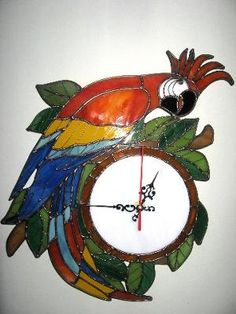 Parrot Clock Stained Glass. Beautiful!